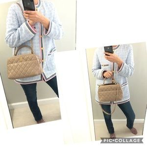 Auth Chanel tote/ shoulder bag w / removable strap